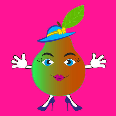 Cute cartoon pear in a hat with feminine features isolated pink background. Illustration