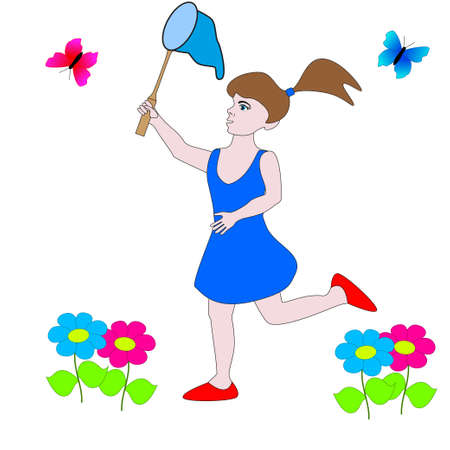 Girl catches a butterfly with a net isolated white background.
