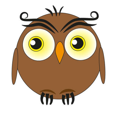 Funny fat owl with big eyes isolated on a white background. Ilustração