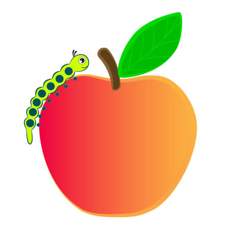Caterpillar crawling on a ripe apple.