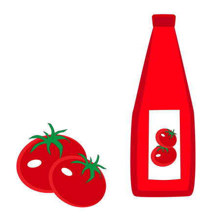 Two red tomatoes and a bottle of ketchup isolated by a white background. Ilustracja