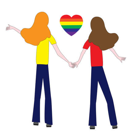Same-sex love between two people, and the heart symbol rainbow color.