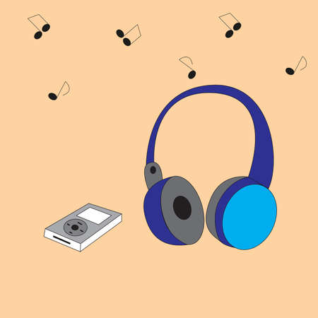 Items to play and listen to music. Audio headphones and audio player isolated by brown background.