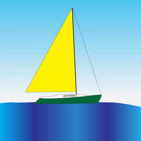 A small yacht with a large sail floats in the ocean. Çizim