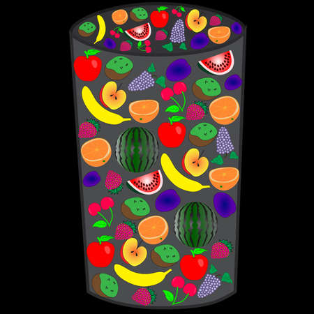 The original glass of fresh fruits isolated against a black background. Çizim
