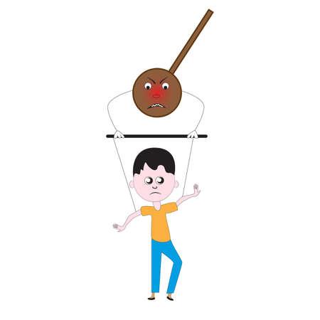 An evil destructive pendulum pulls the strings of the puppet man.
