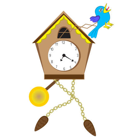 Crazy cuckoo clock isolated on a white background.