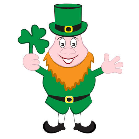Cheerful and kind leprechaun isolated by a white background. Archivio Fotografico - 139038220