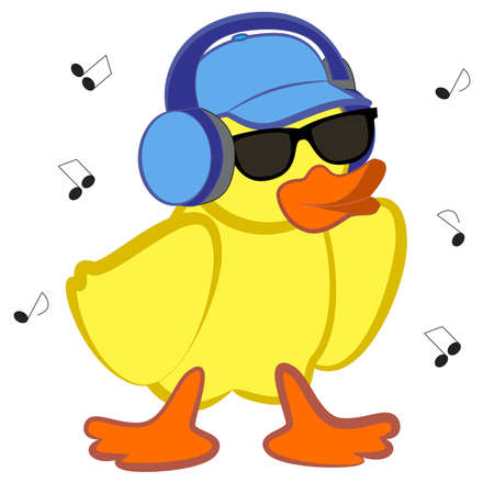 A fashionable duckling in dark sunglasses listens to music with headphones.