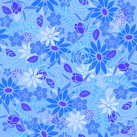Seamless beautiful flower pattern. Vector illustration on fabric, wallpaper, wrapping wrapper.