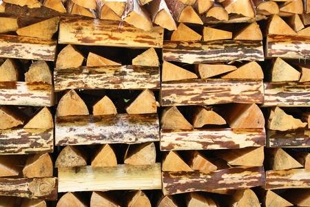 orderly woodpile Stock Photo