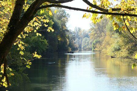 River landscape in autumn Stock Photo