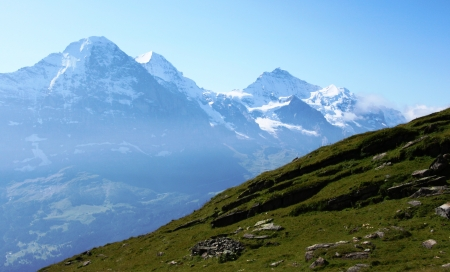 monch: Eiger, Monch and Jungfrau Stock Photo