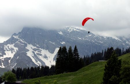 Paragliding in Switzerland Stock Photo