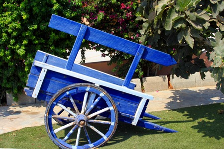 Blue wooden cart