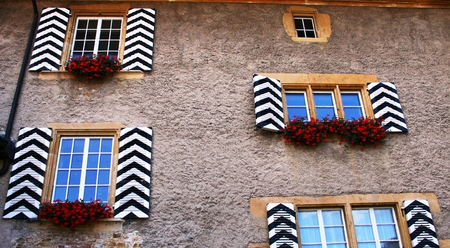 shutters: Windows with shutters black white