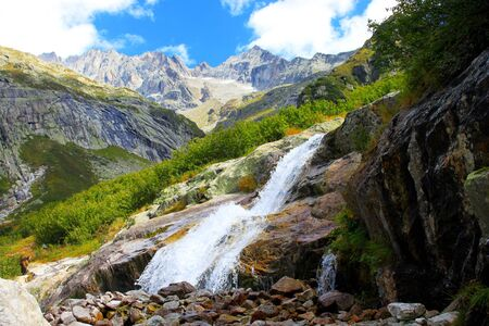 high mountains: waterfall in the high mountains Stock Photo