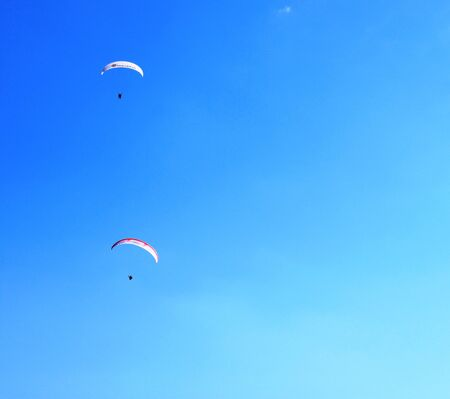 paraglider: Paraglider in the mountains Stock Photo