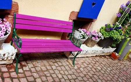 seating area: Sitting outside the house Stock Photo