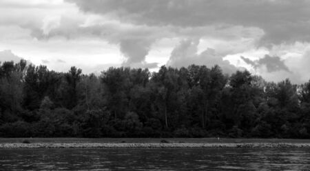 Black and white landscape on river