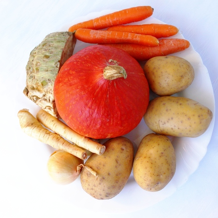 Healthy ingredients for a delicious pumpkin soup