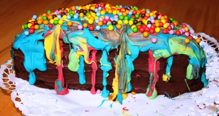 Colorful cake for birthday Stock Photo