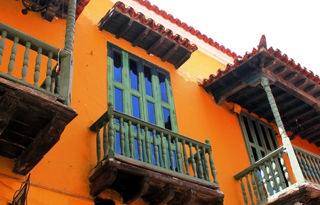Houses and facades in Cartagena de Indias