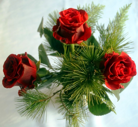 Christmas bouquet with red roses