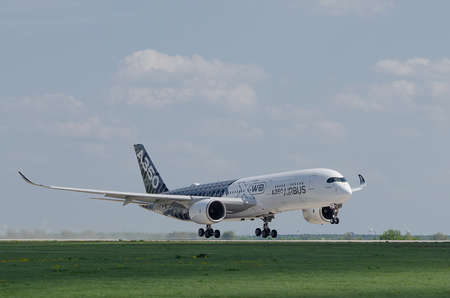 Berlin Schenefeld, Germany, April 28, 2018, Airbus A350 - 900 XWB during the ILA Berlin Schenefeld takeoff Editorial