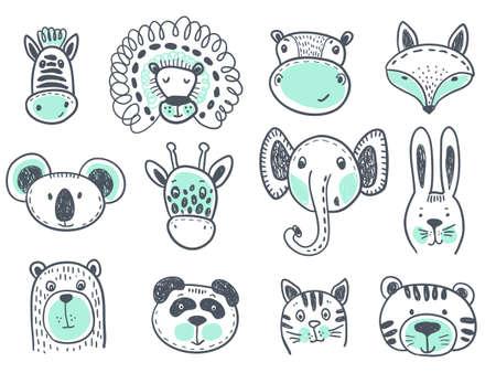Vector collection of cute animal heads for baby and children design. Fox, giraffe, lion, rabbit, tiger, hippo, cat, coala, elephant panda bear zebra
