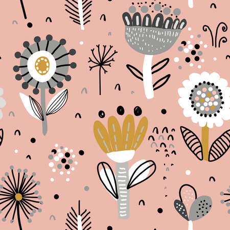 Vector seamless pattern with fancy flowers. Scandinavian motives. Hand drawn doodle style.