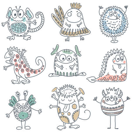 Vector collection of colorful funny monsters. Cute characters Illustration