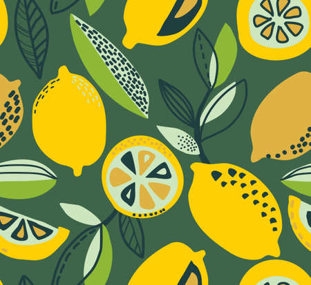 Vector seamless pattern with yellow lemons, branches, absdtact textures. Fruit repeated background. Colorful endless print for fabric or paper.  イラスト・ベクター素材