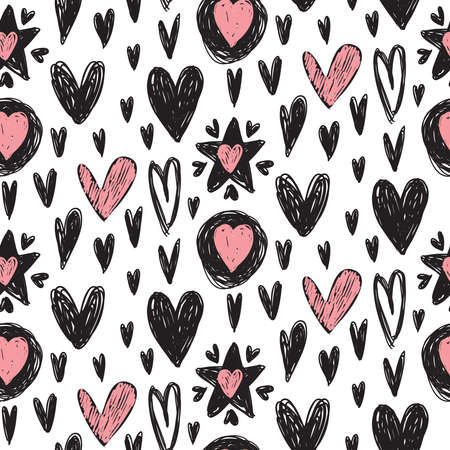 Vector seamless pattern with hand drawn hearts in sketch style. Black, white and pink Valentine s Day endless background for wrapping paper, textile, cards Ilustração
