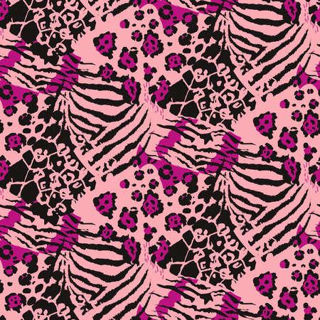 Vektor abstraktes nahtloses Muster mit Tierhautmotiven. Vektorgrafik