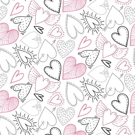Vector seamless pattern with hand drawn hearts in sketch style. Beautiful Valentine s Day endless background for wrapping paper, textile, cards Ilustração