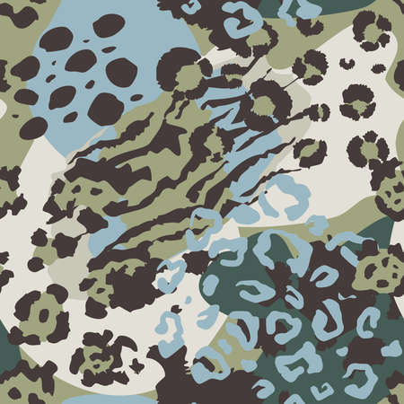 Vector abstract seamless pattern with animal skin motifs. Vetores