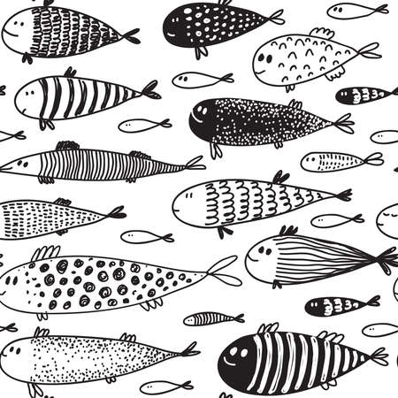 Seamless pattern with hand drawn cute fish in sketch style. Vector decorative endless marine background. Fabric design.