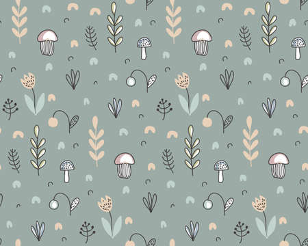 Vector seamless pattern with hand drawn berries, plants, flowers, mushrooms. Illustration for cards, invitations, baby shower, preschool and children room decoration Vettoriali