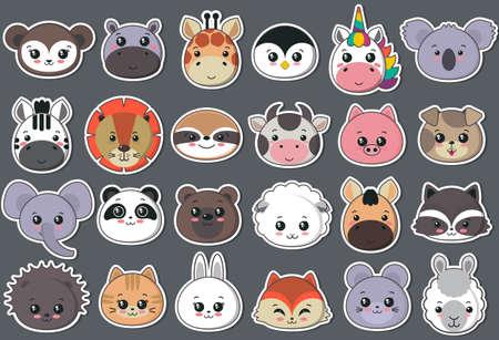 Vector collection of cute animal faces, big icon set for baby design. Koala, cow, giraffe, penguin, unicorn, bear, pig, dog, fox, panda, cat, lion rabbit raccoon hippo sloth mouse zebra lama 일러스트
