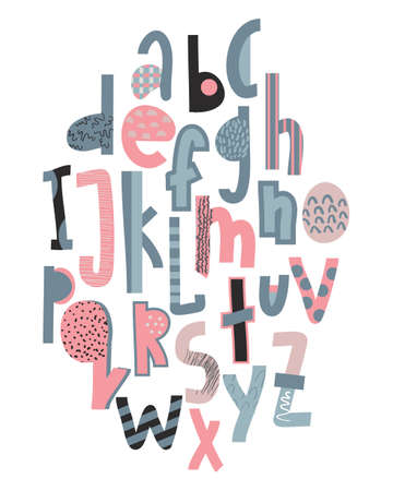 Children s font in the creative abstract style. Set of multicolored bright funny letters. Vector illustration of an alphabet