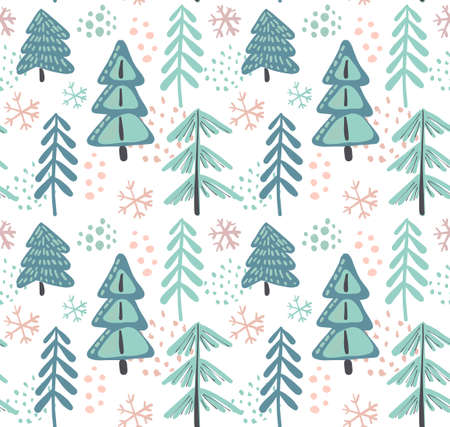Vector seamless pattern with winter fir forest.