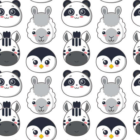 seamless pattern with cute black and white animal faces Ilustração