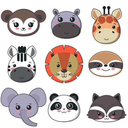Vector collection of cute african animal faces, icon set for baby design.