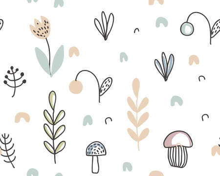 Vector seamless pattern with hand drawn berries, plants, flowers, mushrooms. Illustration for cards, invitations, baby shower, preschool and children room decoration