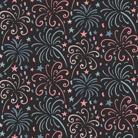 Seamless pattern with hand drawn fireworks. Colorful holiday vector endless background.
