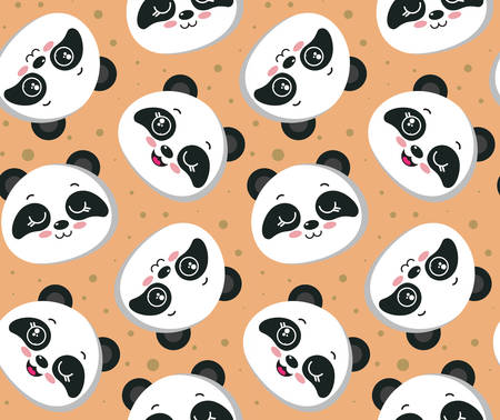 Vector seamless pattern with cute panda faces. Beautiful endless background for kids design Иллюстрация