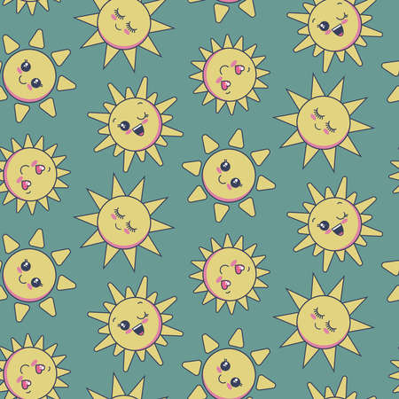 Vector seamless pattern with cute smiling sun faces. Endless background for child design Illustration