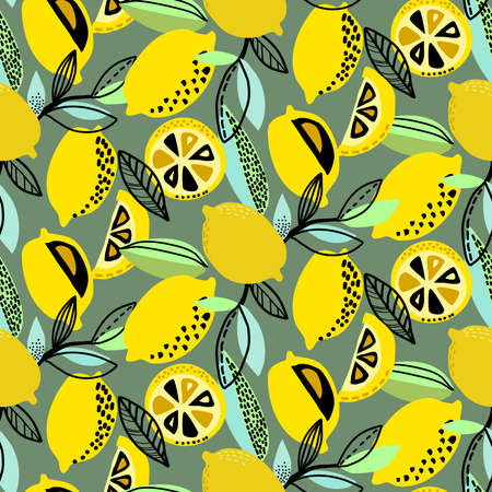 Vector seamless pattern with yellow lemons, branches, absdtact textures. Fruit repeated background. Colorful endless print for fabric or paper. Illustration