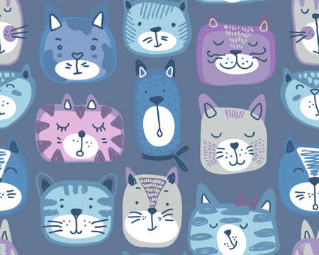 Vector seamless pattern with hand drawn colorful cat faces. Fabric design, endless print for children. Çizim